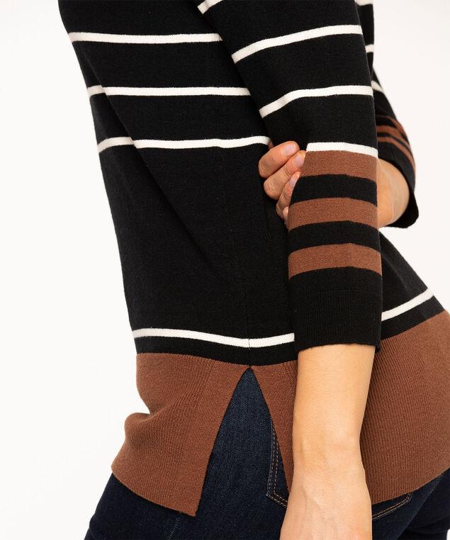 Black Stripe Pullover Sweater, Black/Brown Stripe