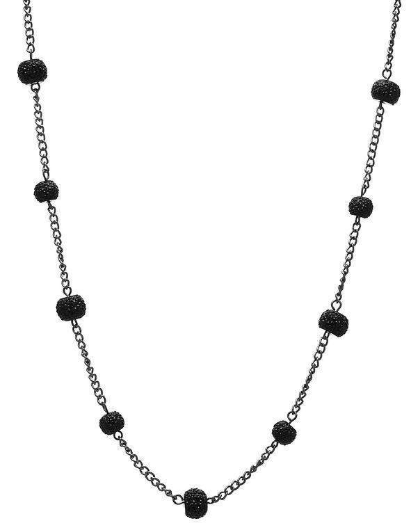 Long Black Glitter Chain Necklace, Black, hi-res