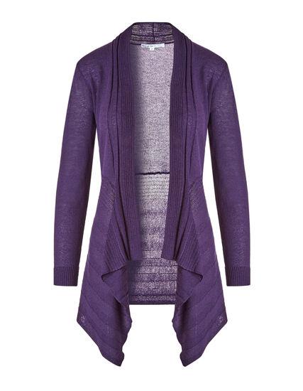 Dark Purple Waterfall Cardigan, Dark Purple, hi-res