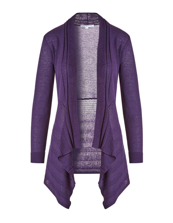 Dark Purple Waterfall Cardigan, Dark Purple, hi-res