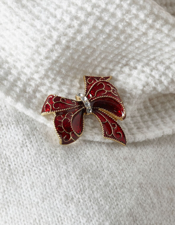 Red Bow Pin, Red, hi-res