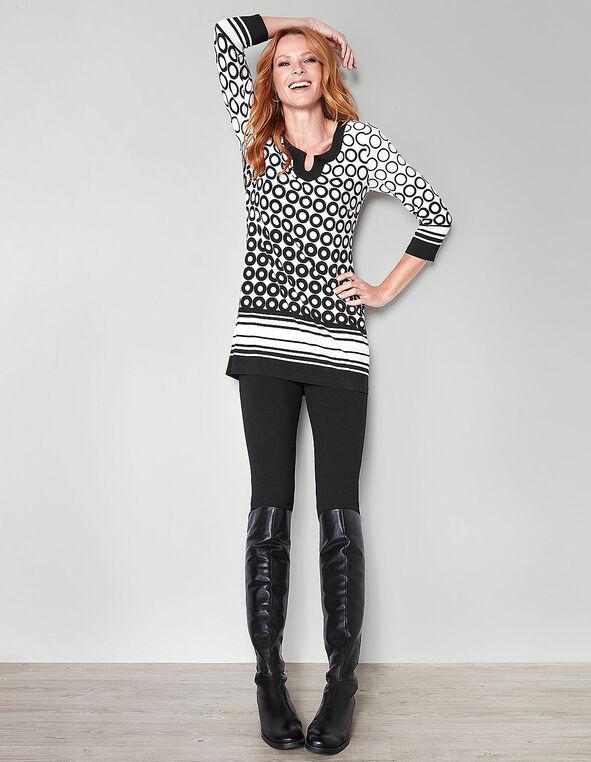 Black Printed Tunic, Ivory/Black, hi-res
