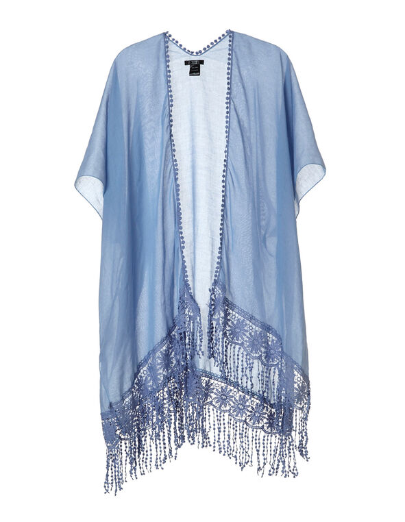 Chambray Kimono Cover Up, Blue, hi-res