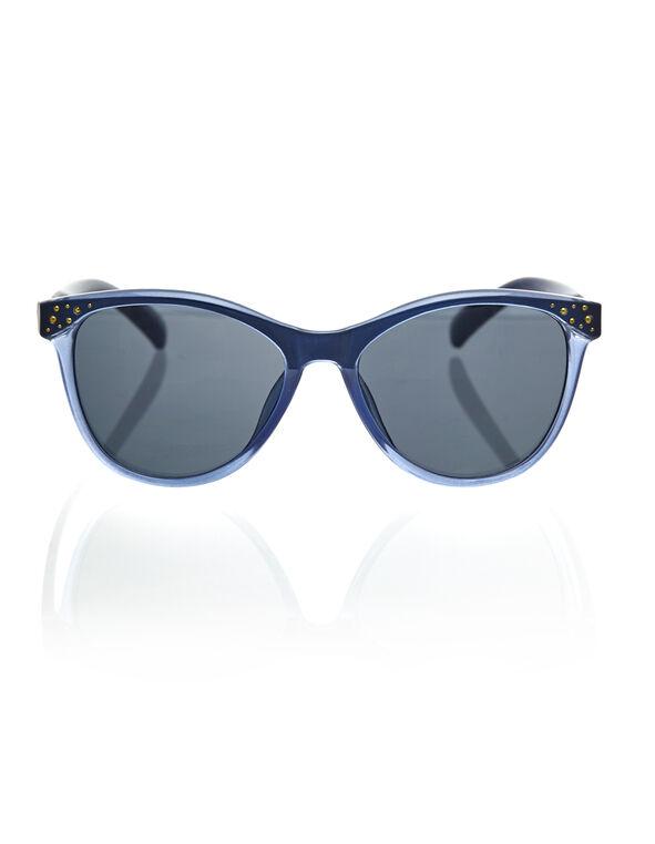 Denim Blue Studded Wayfarer Sunglasses, Blue, hi-res