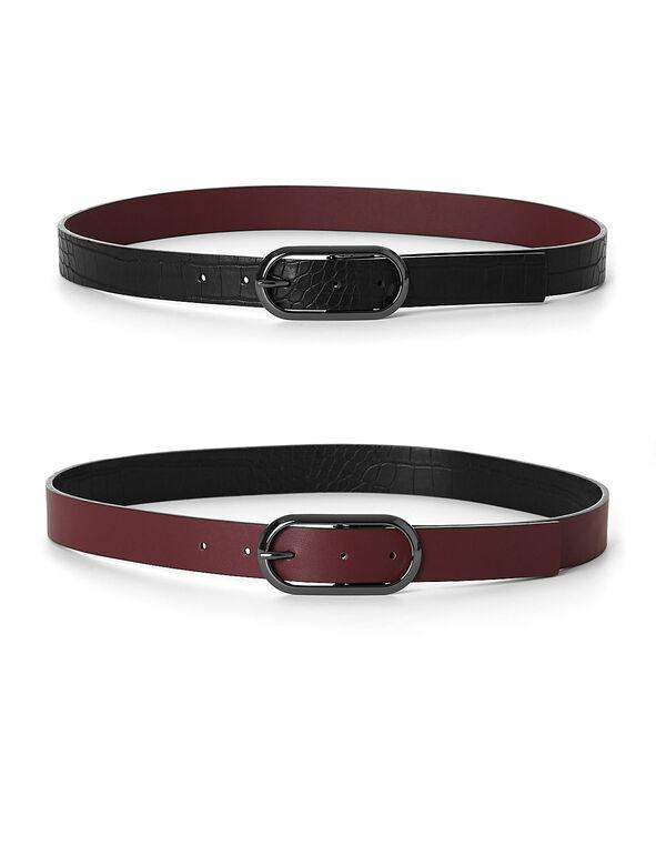Burgundy/Croco Reversible Belt, Red/Black, hi-res