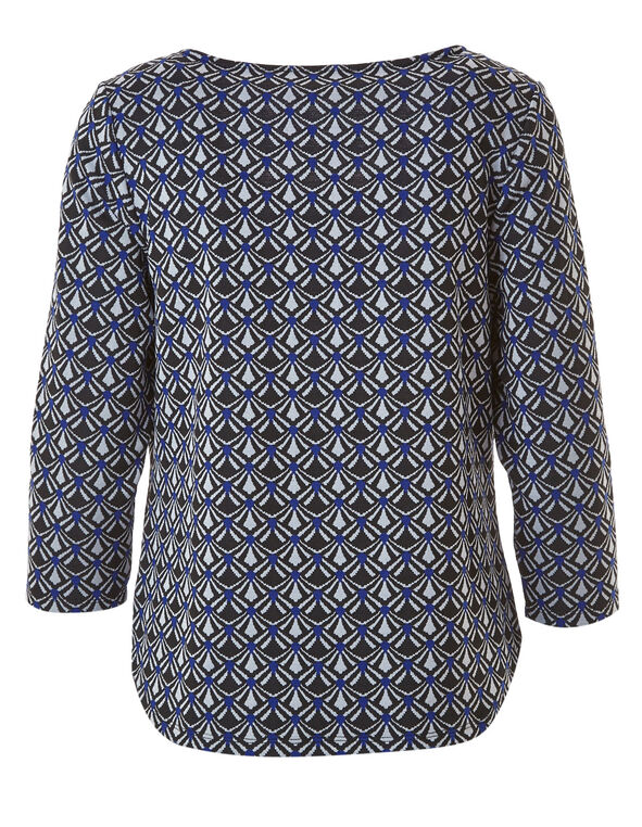 Blue Jacquard Knit Top, Blue, hi-res