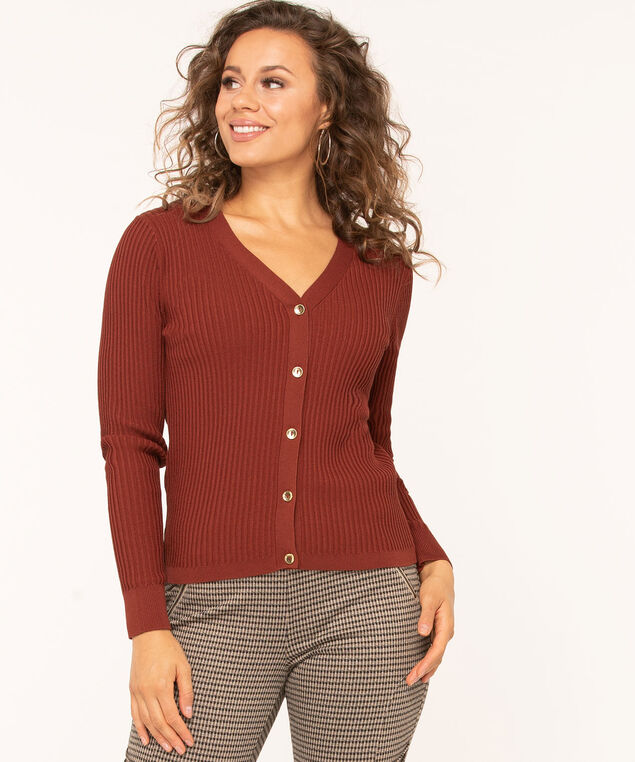 Gold Button Ribbed Cardigan, Rust, hi-res