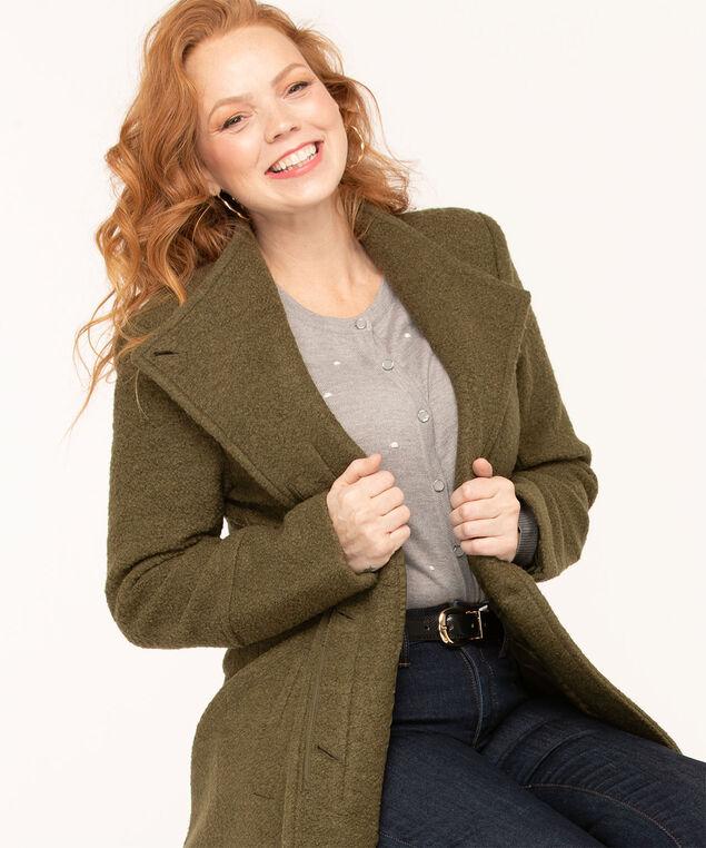 Bouclé Standing Collar Coat, Olive, hi-res