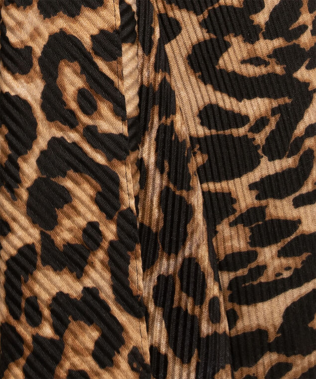 Leopard Print Pleated Scarf, Brown/Black/Camel