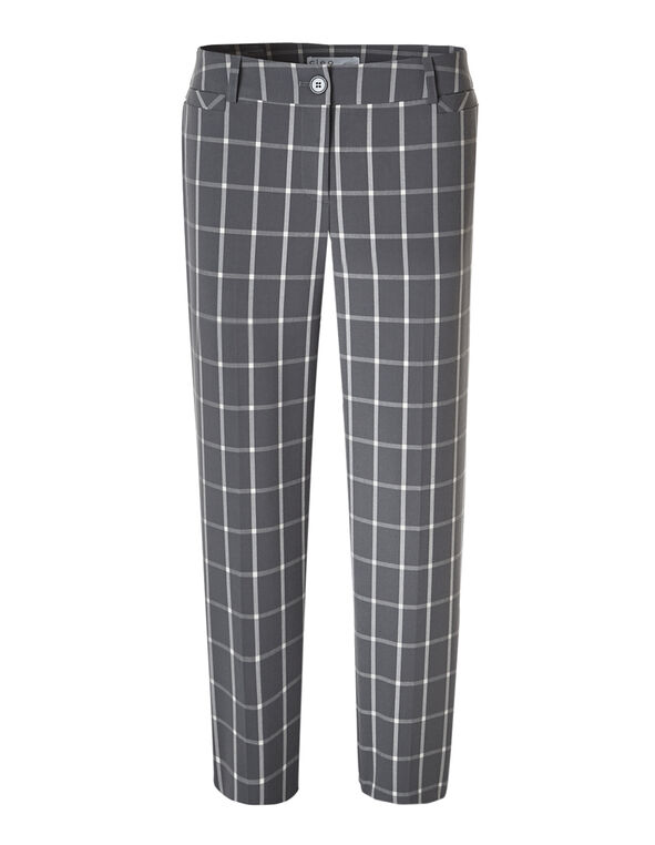 Grey Windowpane Ankle Pant, Grey, hi-res