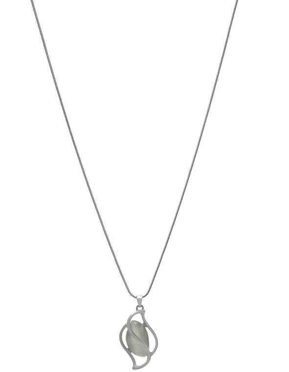 White Cat Eye Short Necklace, White, hi-res