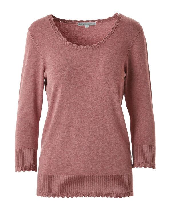 Rose Scallop Edge Sweater, Rose, hi-res