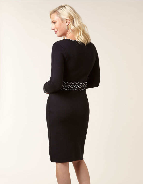Black Sweater Sheath Dress, Black, hi-res