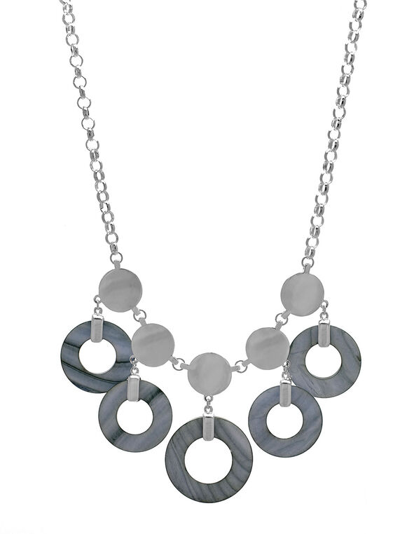 Grey Shell Short Statement Necklace, Grey, hi-res