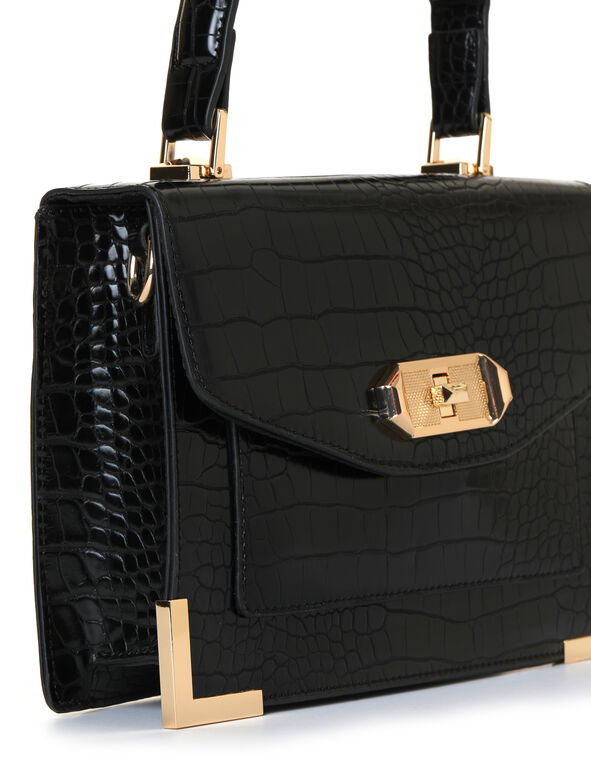 Black Croco Handbag, Black, hi-res