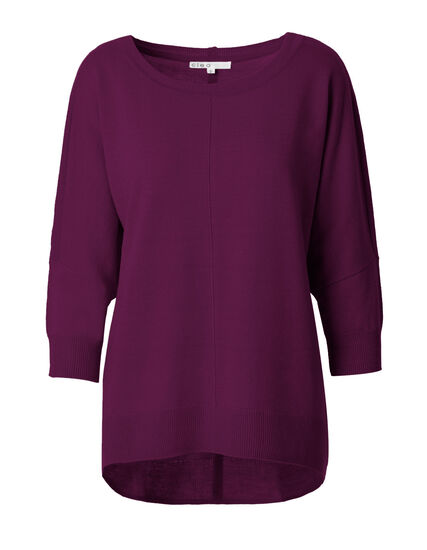 Dolman Back Button Sweater, Sangria, hi-res