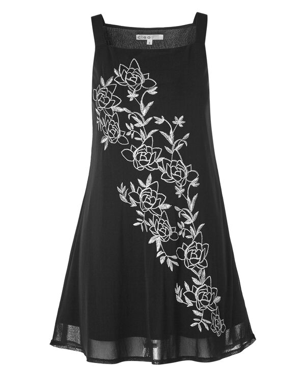 Black Embroidered Tunic, Black, hi-res