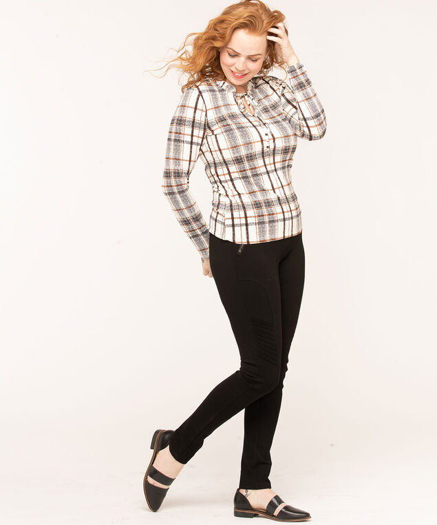 Ivory Plaid Ruffle Neck Top, Ivory/Black/Brown, hi-res