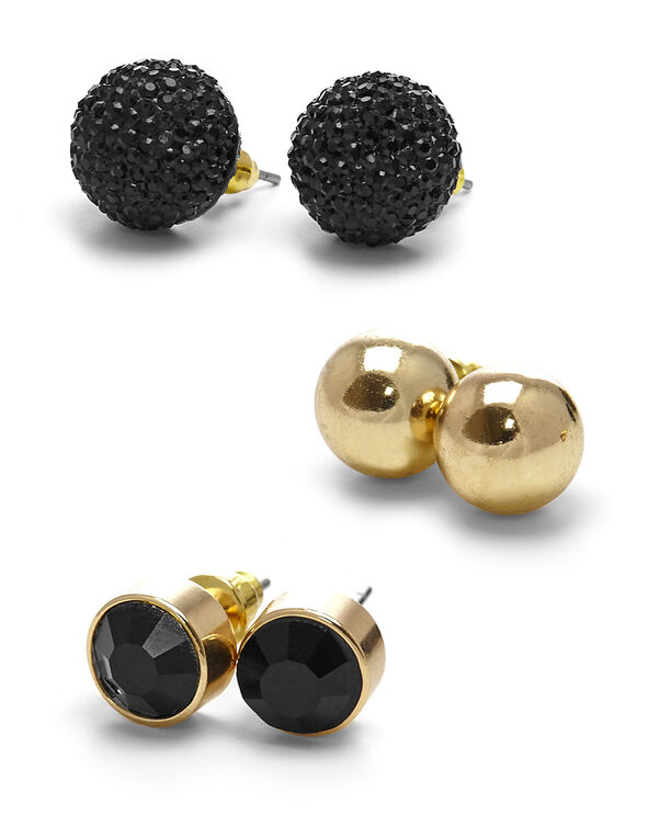 Black Circular Earring Trio, Black, hi-res