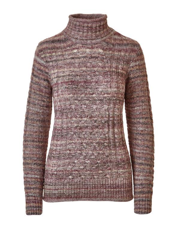 Plum Mix Cable Knit Sweater, Light Plum, hi-res