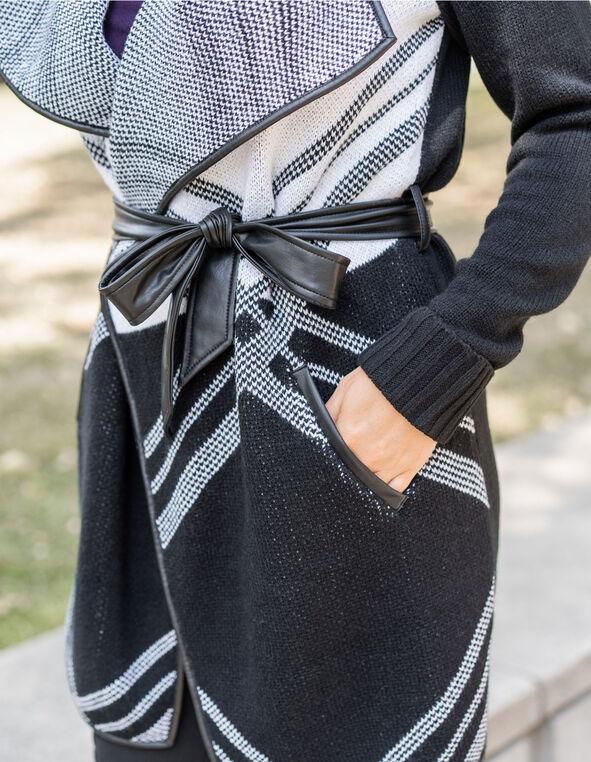 Black Patterned Sweater Coat, Black, hi-res