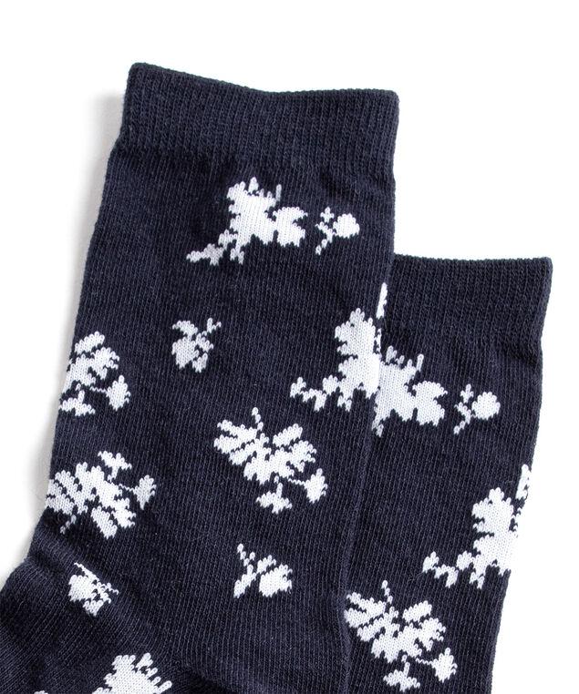Navy Floral Crew Socks, Navy/White Floral