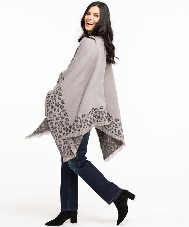 Leopard Print Reversible Wrap, Grey Leopard