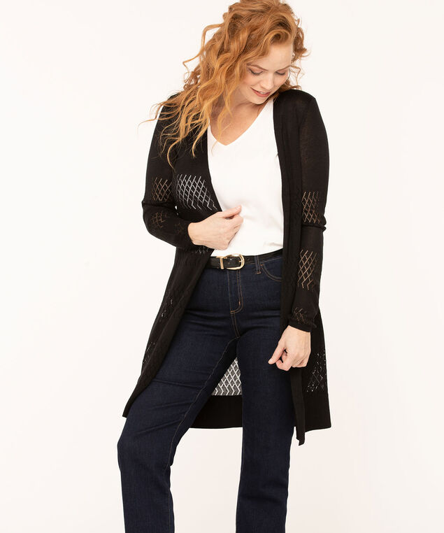 Pointelle Drawstring Long Cardigan, Black, hi-res