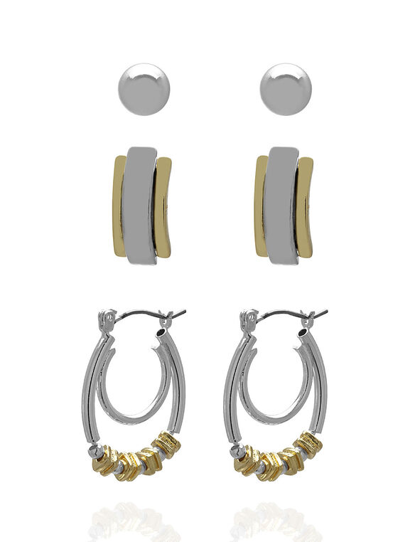 Two-Tone Earring Trio Set, Gold/Silver, hi-res