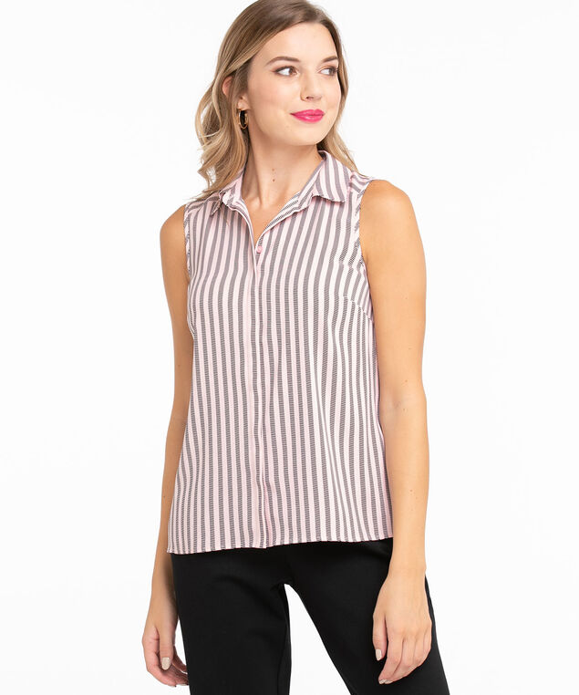 Sleeveless Collared Button Front Blouse, Soft Pink/Black Lines