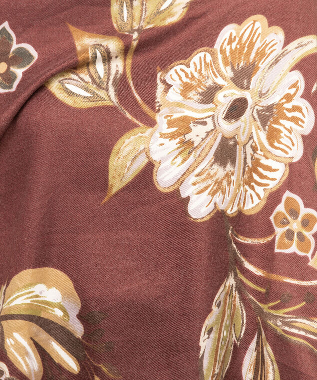 Mulberry Floral Oblong Scarf, Mulberry/Camel/Mauve