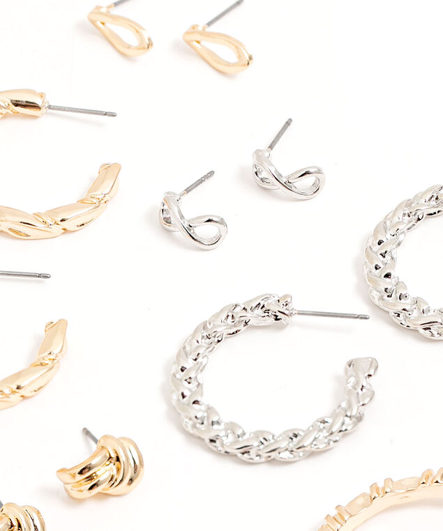 Gold & Silver 6-Pack Earring Set, Gold/Silver
