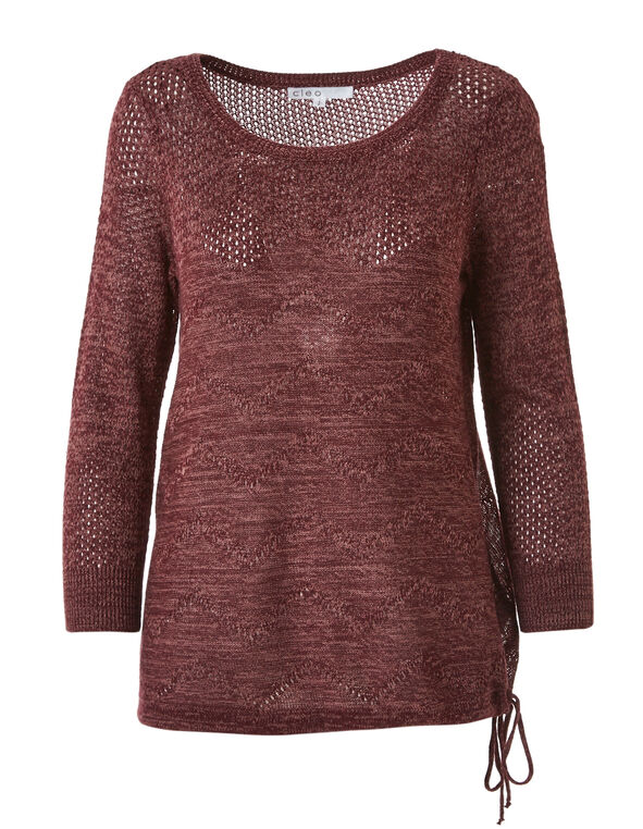 Wine Drawstring Pullover Sweater, Wine, hi-res