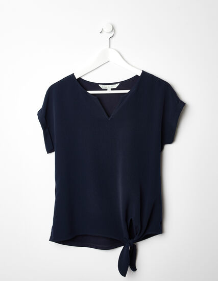 V-Neck Tie Front Top, Navy, hi-res