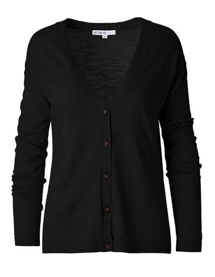 Black Slub Button Front Cardigan, Black, hi-res
