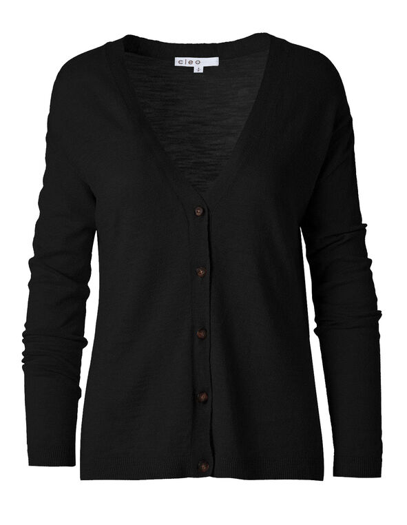 Black Slub Button Front Cardigan, Black, hi-res