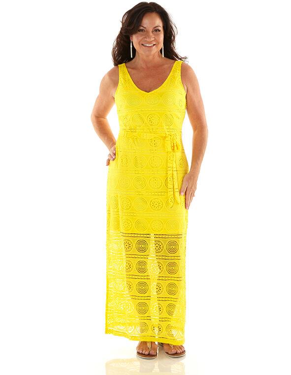 Yellow Lace Maxi Dress, Yellow, hi-res
