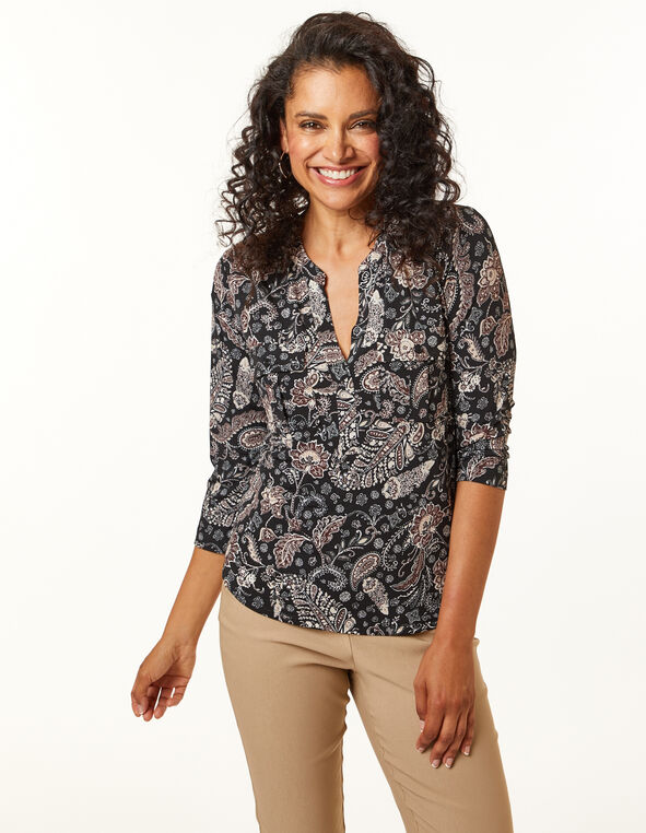 Black Paisley Utility Top, Black, hi-res