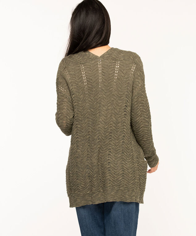 Pointelle Stitch Long Open Cardigan, Olive Green