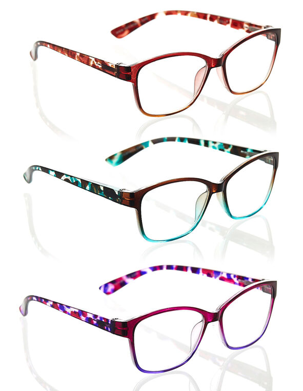 Multicolour Geo Frame 3-Pack Readers, Red/Green/Purple, hi-res