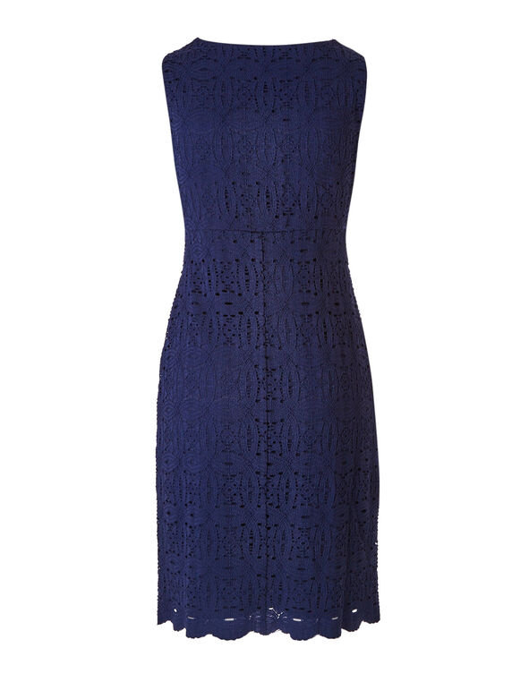 Navy Lace Sheath Dress, Navy, hi-res