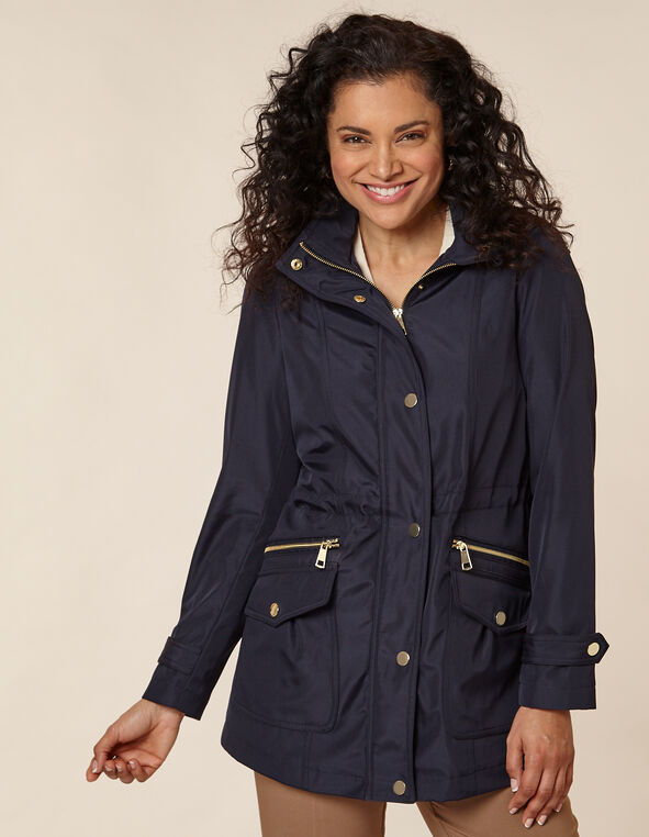 Navy Anorak Coat, Navy, hi-res