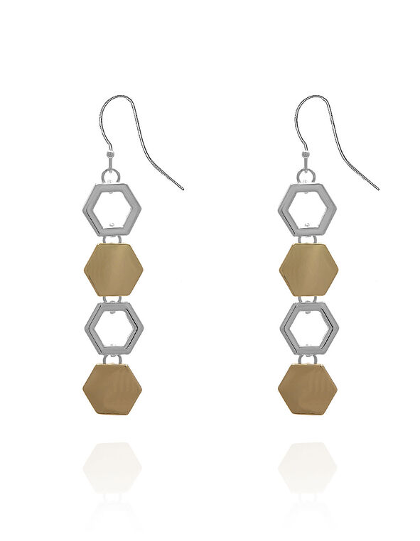 Silver & Gold Hexagon Earring, Silver/Gold, hi-res