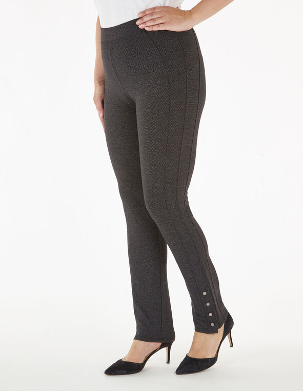 Grey Patterned Snap Bottom Legging, Charcoal, hi-res