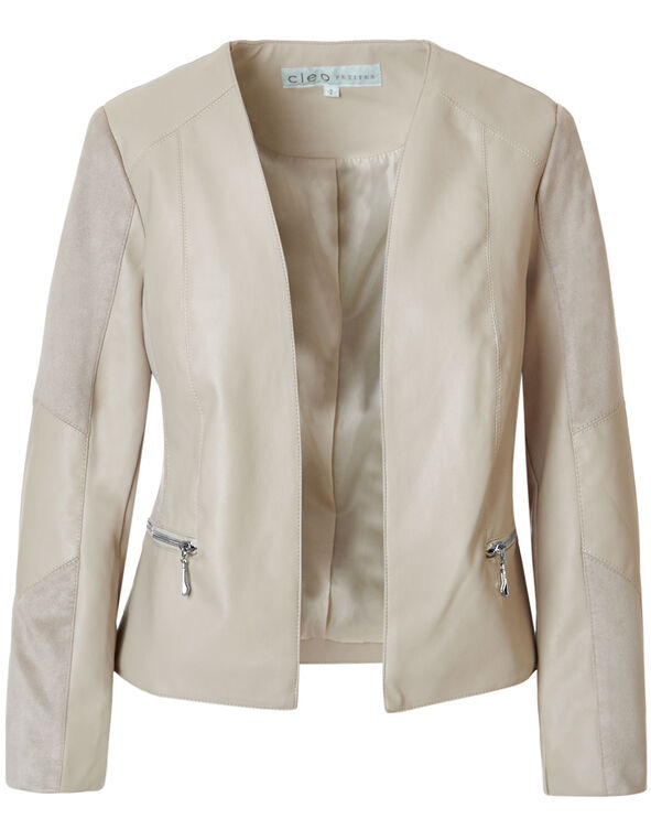 Stone Suede Faux Leather Jacket, Stone, hi-res