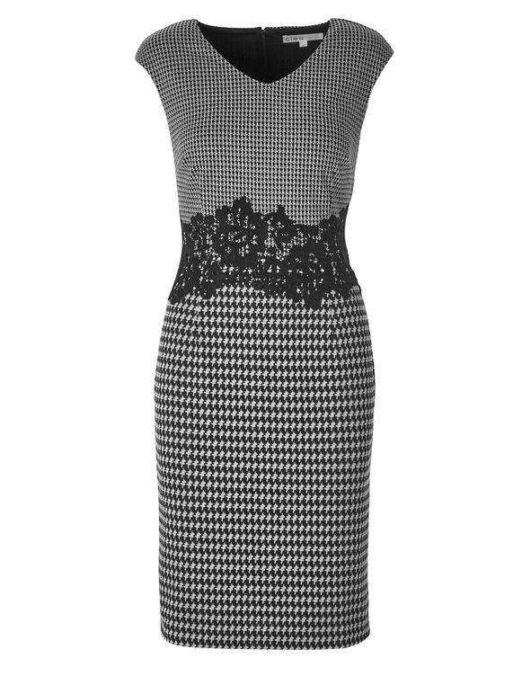 Black Houndstooth Jacquard Dress, Black/White, hi-res