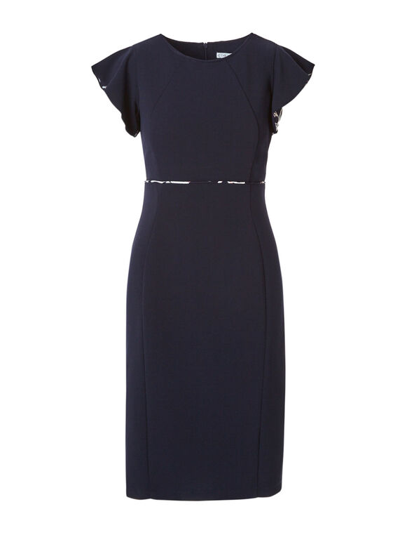 Navy Printed Sleeve Sheath Dress, Navy, hi-res
