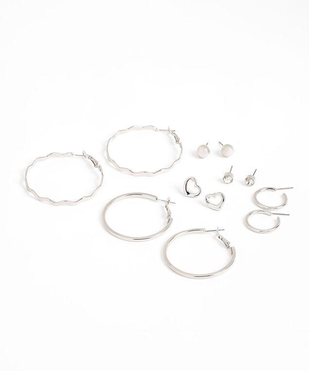 Silver Hoop & Heart Earring 6-Pack, Silver