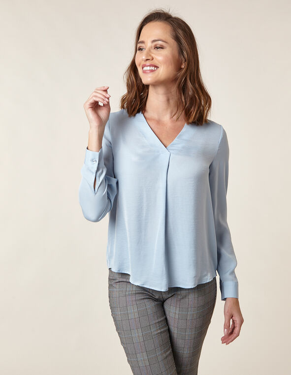Blue Hammered Satin Blouse, Blue, hi-res