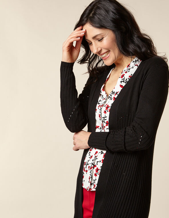 Black Long Rib Knit Cardigan, Black, hi-res
